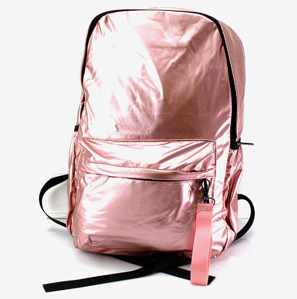 Стильный розовый глянцевый рюкзак.
